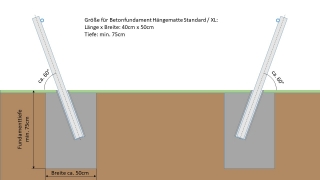 Komplettset Edelstahlmast für Hängematte - XL